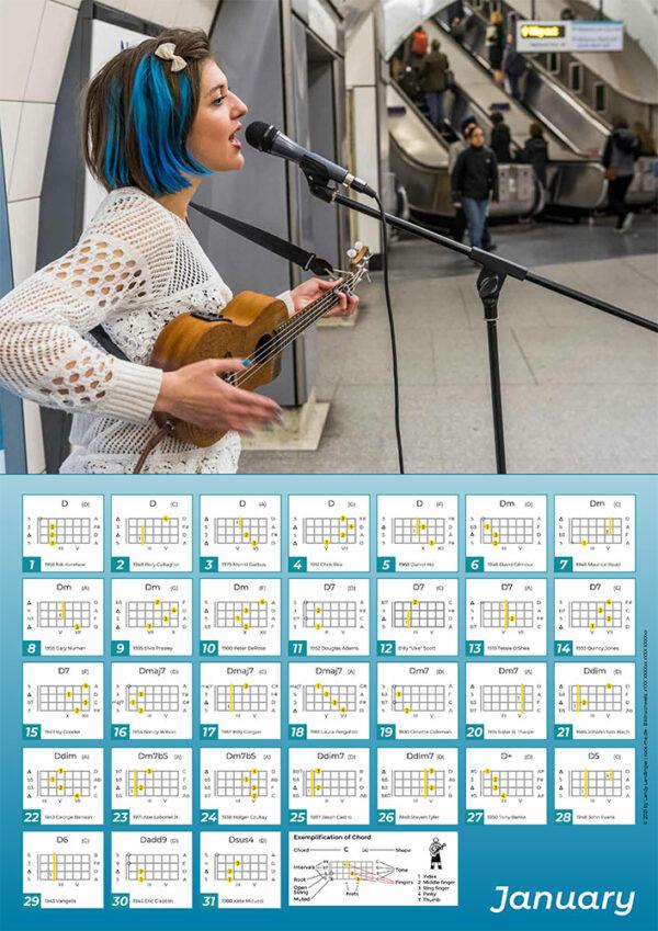 Jazz Mino Ukulele Chords Calendar January